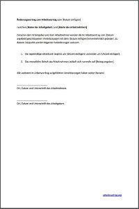 muster nderung eines arbeitsvertrages - Anderung Arbeitsvertrag Muster
