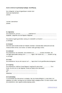 Zusatz Zum Arbeitsvertrag Muster