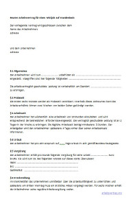 Muster: Arbeitsvertrag für Minijob auf Stundenbasis