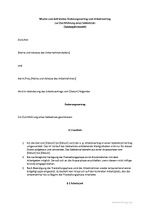 Der Sabbatjahrvertrag als kostenloses Muster